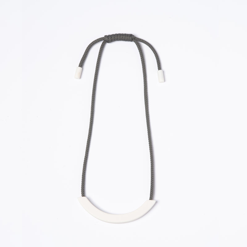 White Arc Grey Necklace