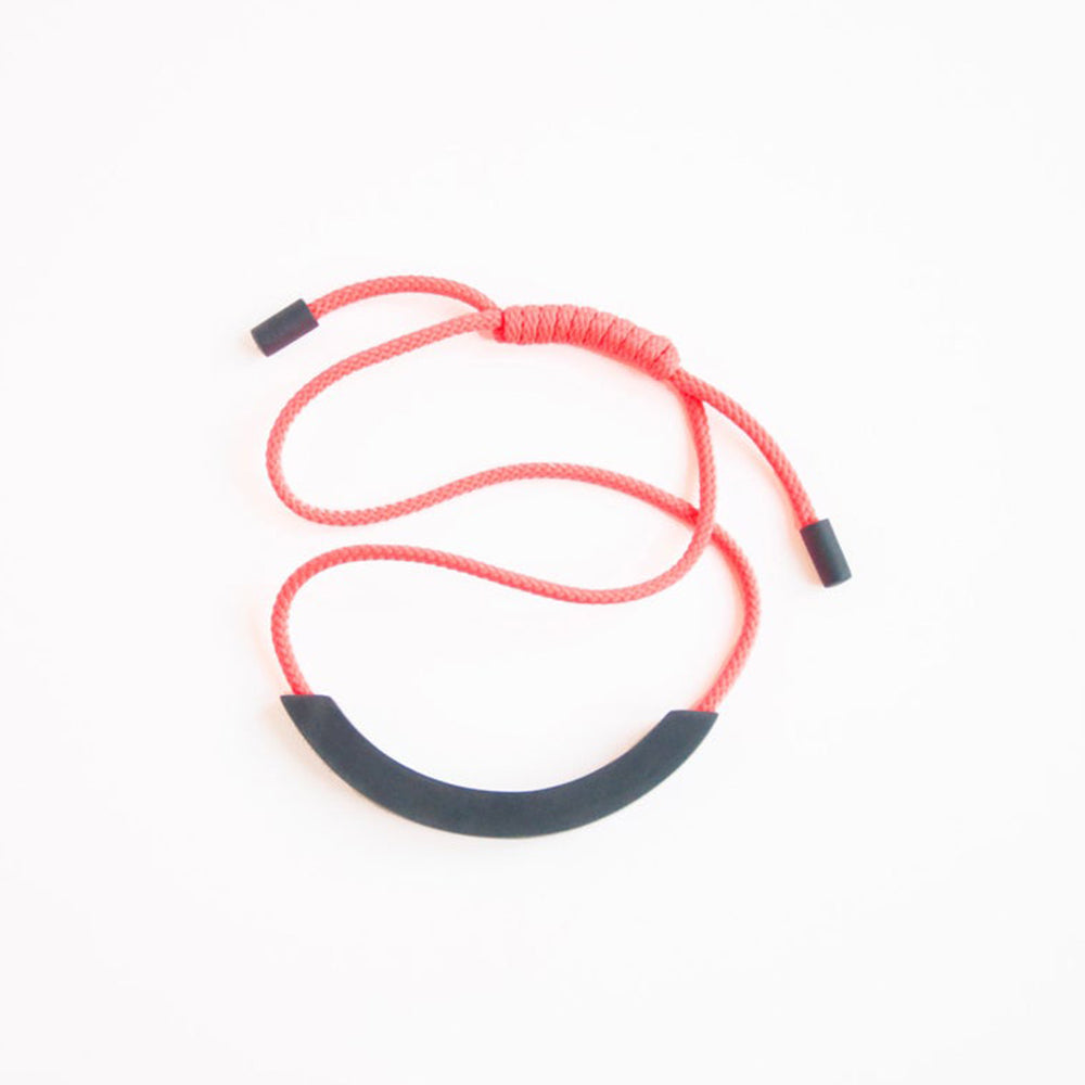 Grey Arc Neon Coral Necklace