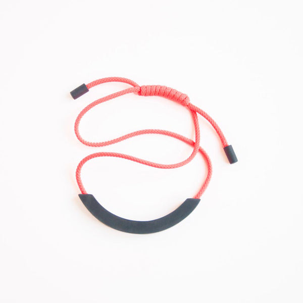 Grey Arc Neon Orange Necklace