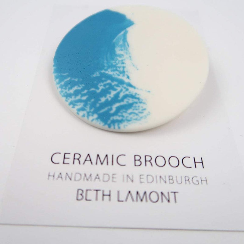 Large Brushstroke Brooch - Blue