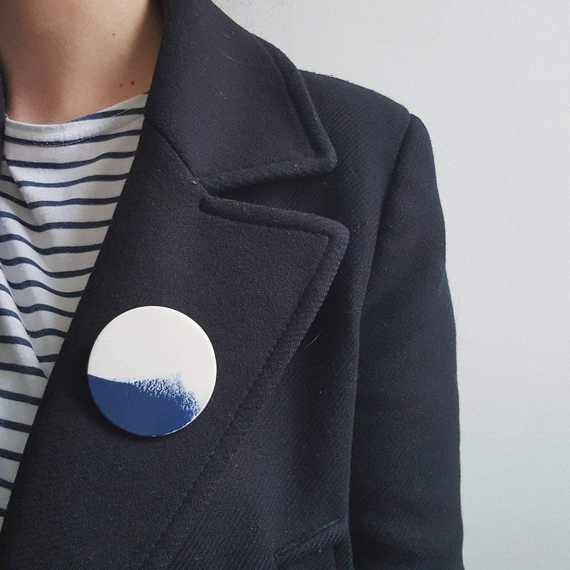 Large Brushstroke Brooch - Navy