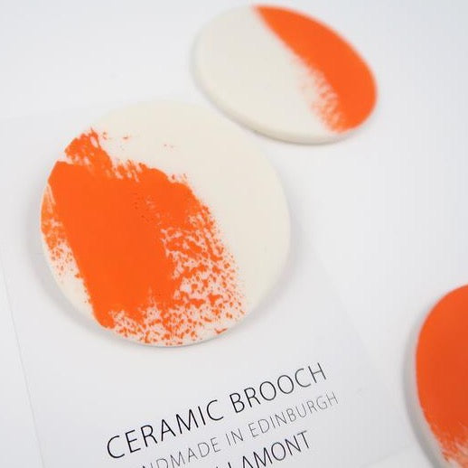 Small Brushstroke Brooch - Orange