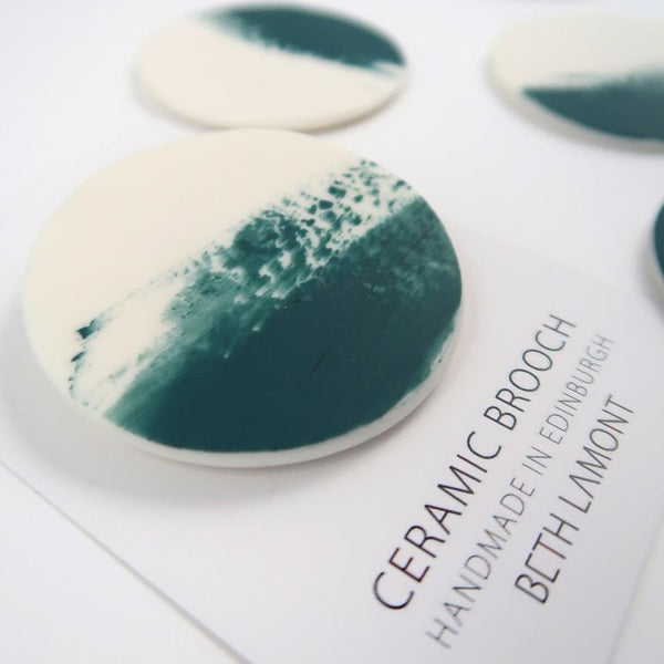 Small Brushstroke Brooch - Teal