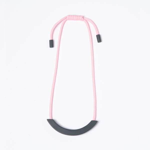 Grey Arc Necklace - Light Pink