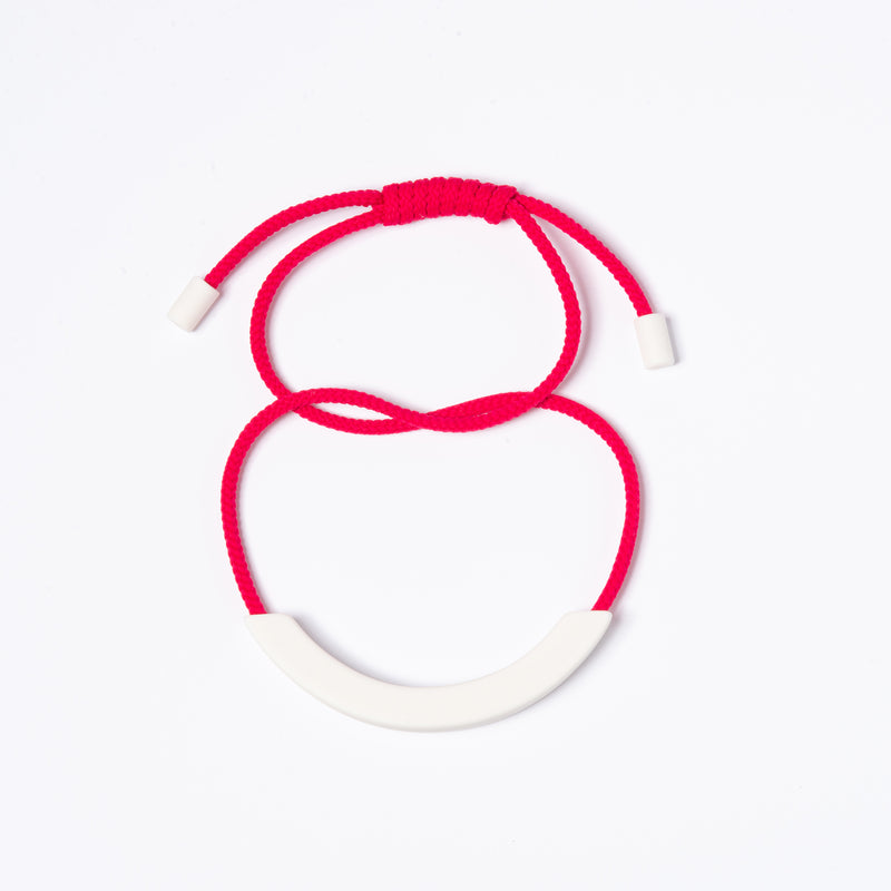 White Arc Necklace - Pink
