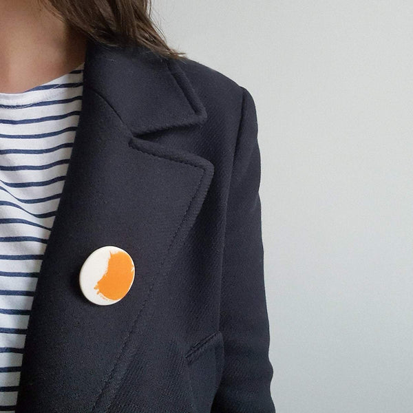 Small Orange Brushstroke Brooch