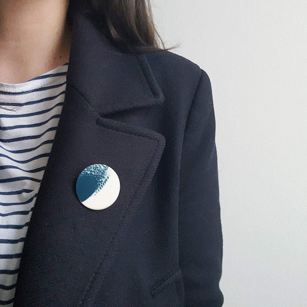 Small Teal Brushstroke Brooch