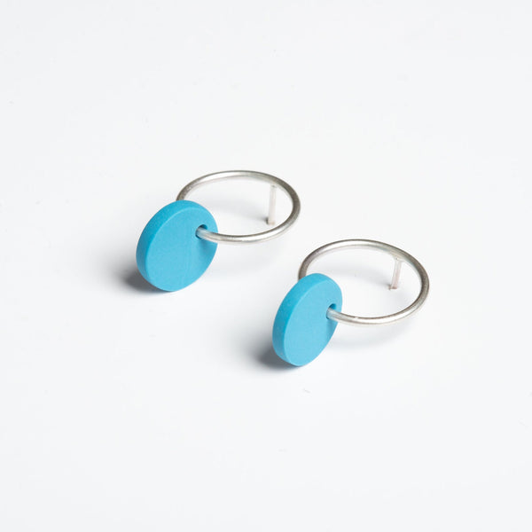 Small Blue Circle Earrings