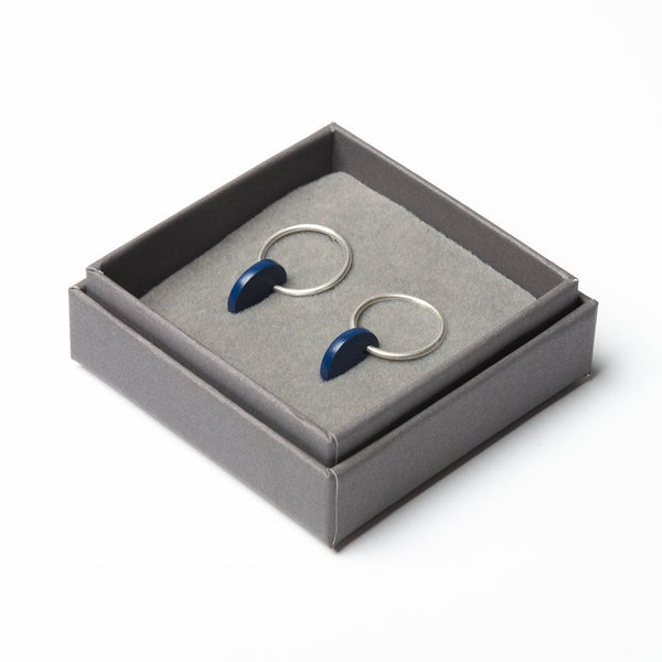 Small Circle Earrings - Navy