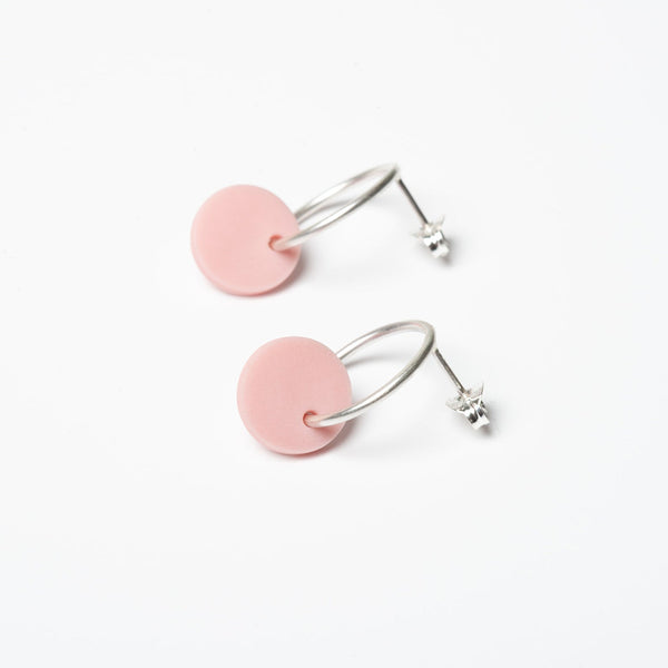 Small Circle Earrings - Pink