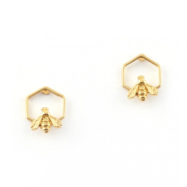 Hexagon Bee Stud Earrings