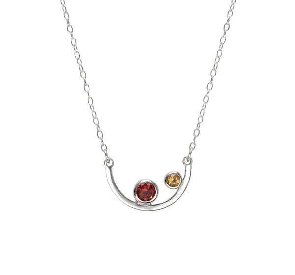 Aura Necklace - Garnet and Citrine