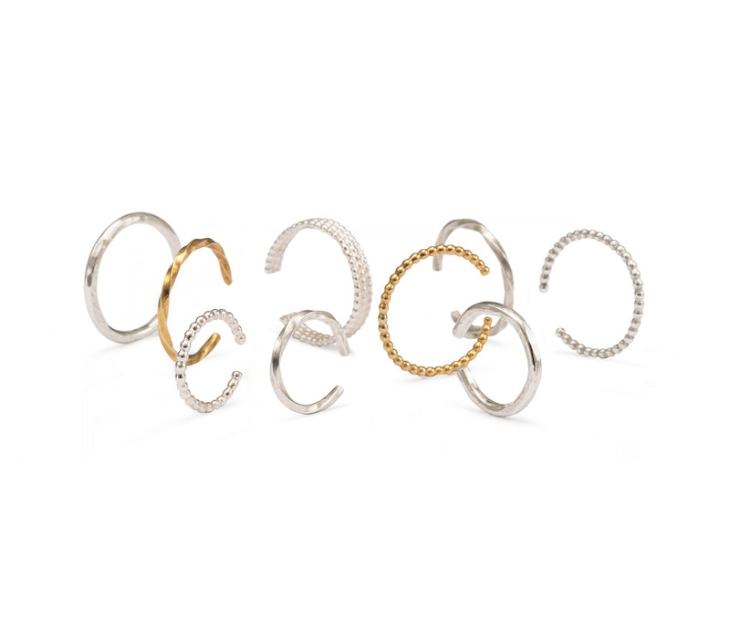 Twisted Anti-Helix Ear Cuff - Silver