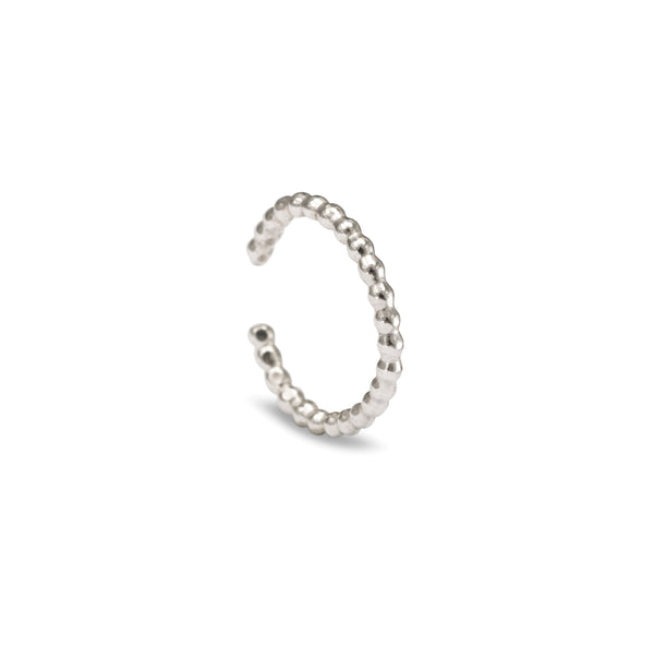 Beaded Helix Ear Cuff - Silver