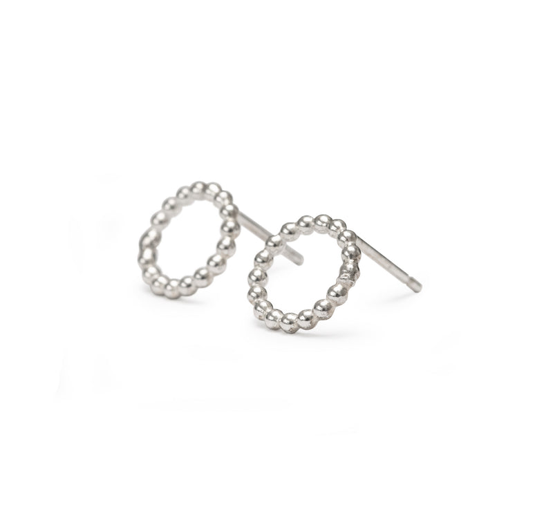 Beaded Circle Studs - Silver