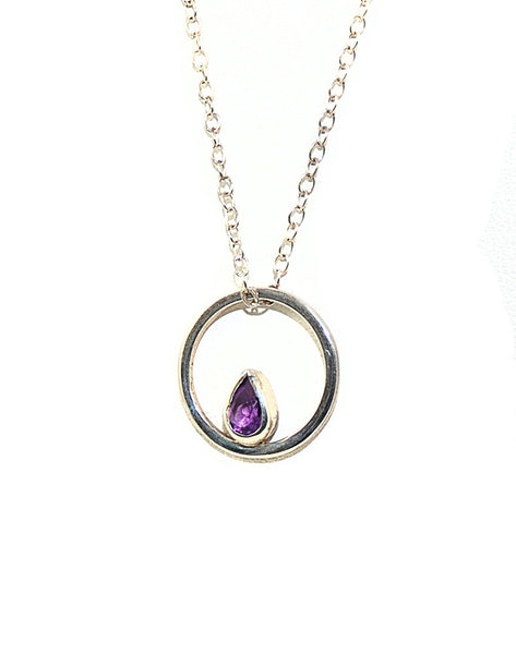 Amethyst Ember Necklace - Pear