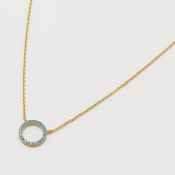 CZ Circle Necklace - Blue