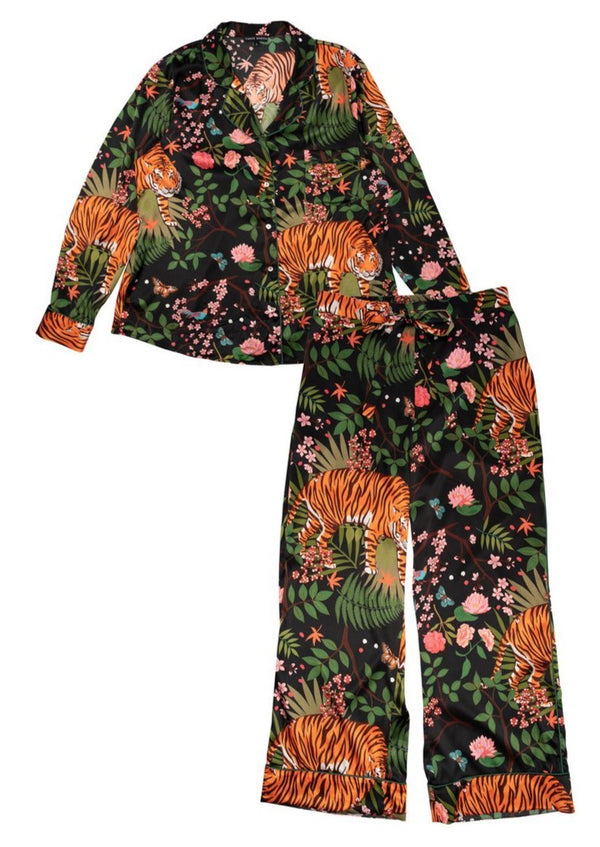 Midnight Tiger Pyjama Set - Silk