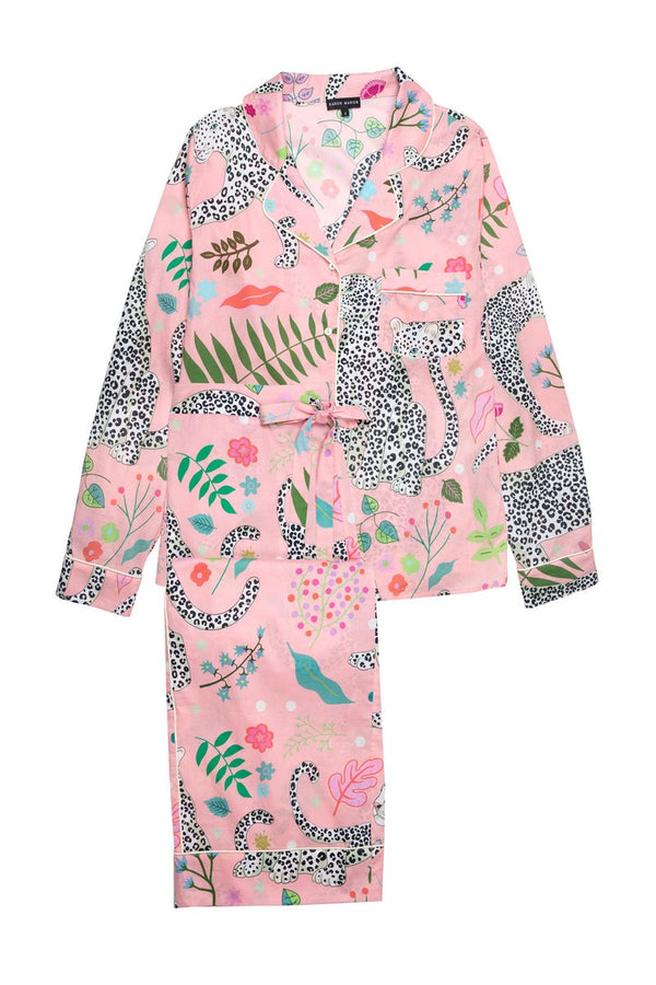 Snow Leopard Pyjama Set - Pink Cotton