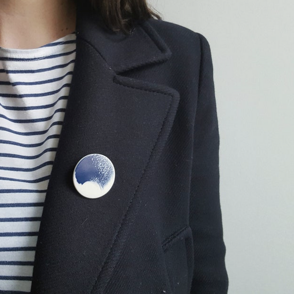 Small Navy Brushstroke Brooch