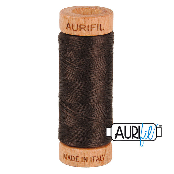 Aurifil Cotton 80wt #1130 Very Dark Bark