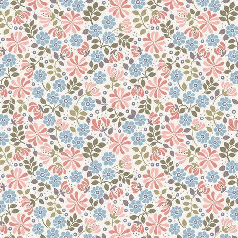 Flo's Little Flowers by Lewis & Irene Floral Leaves Pink & Blue