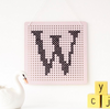 Pink Cross Stitch Pegboard Wall Art by Cotton Clara