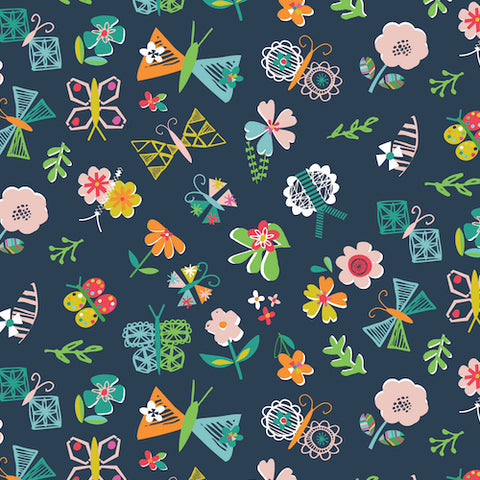 Club Tropicana by Stephanie Thannhauser Navy Flowers
