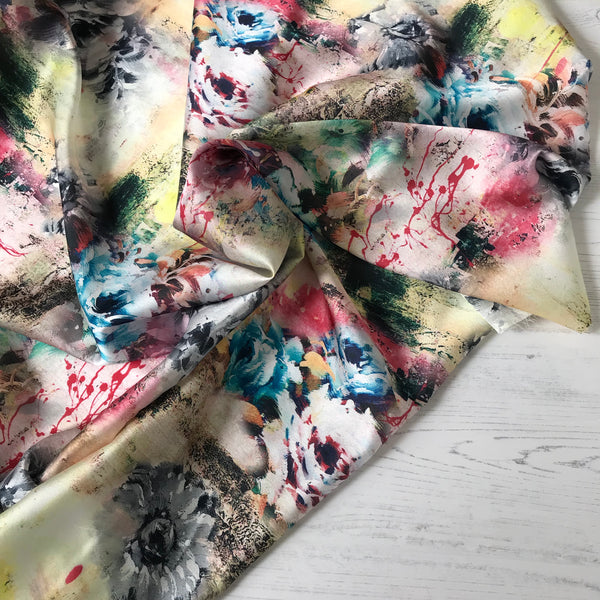 Brushstroke Digital Print Silky Satin Fabric
