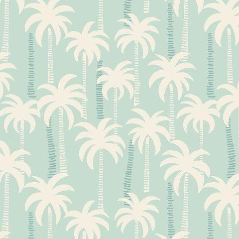 Baby Quilt Back - Blue Palm Trees