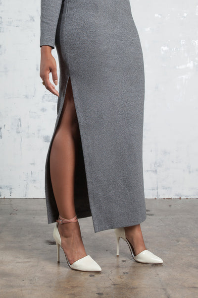 Ponte Knit High-Slit Racer Maxi Dress