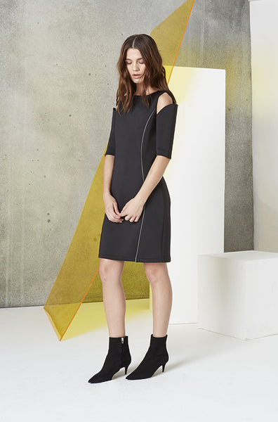 Scuba Cutout Reflector Dress in Black side