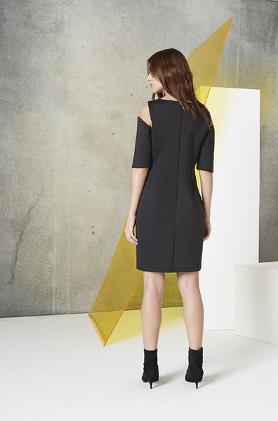 Reflective Cutout Scuba Dress in black back