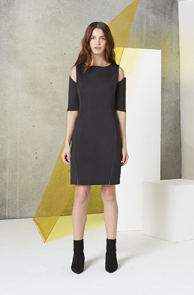 Reflective Cutout Scuba Dress in Black front