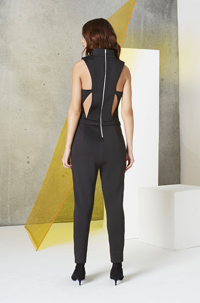 Neoprene Cutout Jumpsuit in Black Back