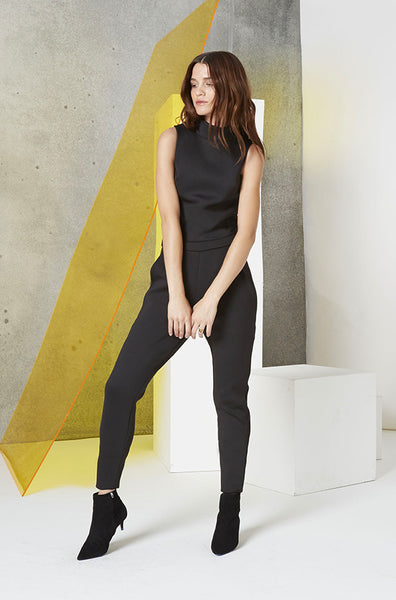 Neoprene Cutout Jumpsuit in Black Front