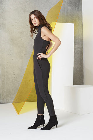 Neoprene Cutout Jumpsuit in Black SIde