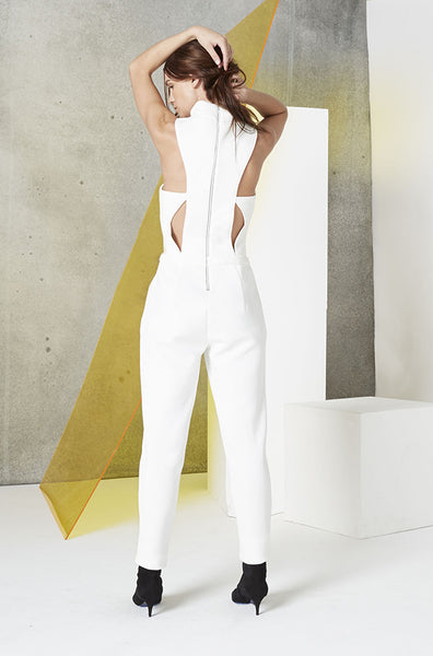 Neoprene Cutout Jumpsuit in White back