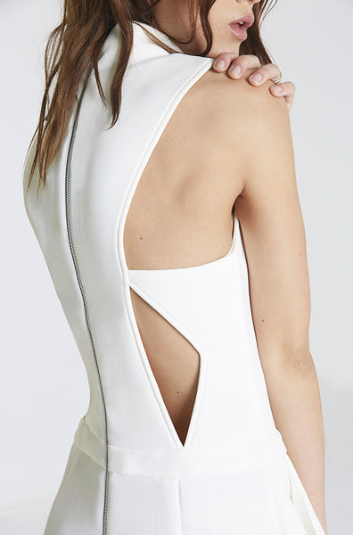 Neoprene Cutout Jumpsuit in White cutout
