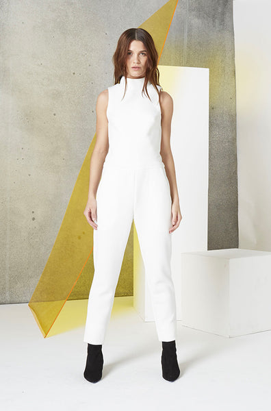 Neoprene Cutout Jumpsuit in White
