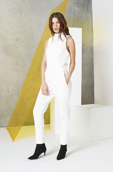 Neoprene Cutout Jumpsuit in White side