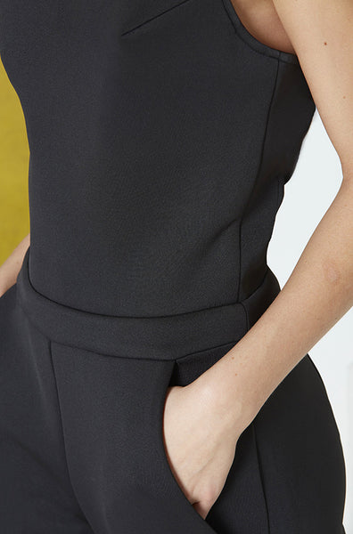Neoprene Cutout Jumpsuit in Black Pocket Detail