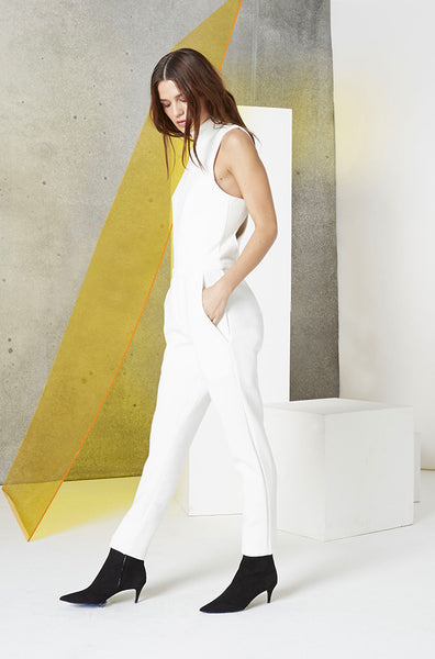 Neoprene Cutout Jumpsuit in White side 2