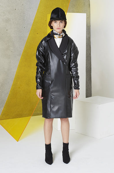 Reversible Faux Leather & Neoprene Peacoat in Black front