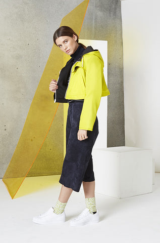 ctive Reversible Crop Jacket in Yellow & Black Side