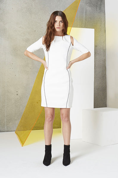 Reflective Cutout Scuba Dress in White
