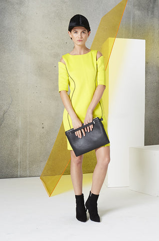Reflective Cutout Scuba Dress in Yellow