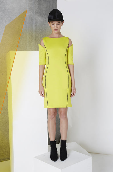 Reflective Cutout Scuba Dress in Yellow Front