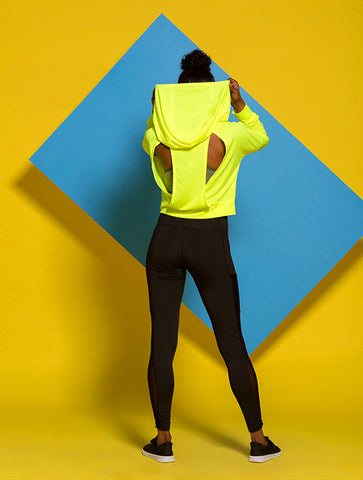 Cutout Back Crop Hoodie in Highlighter Yellow