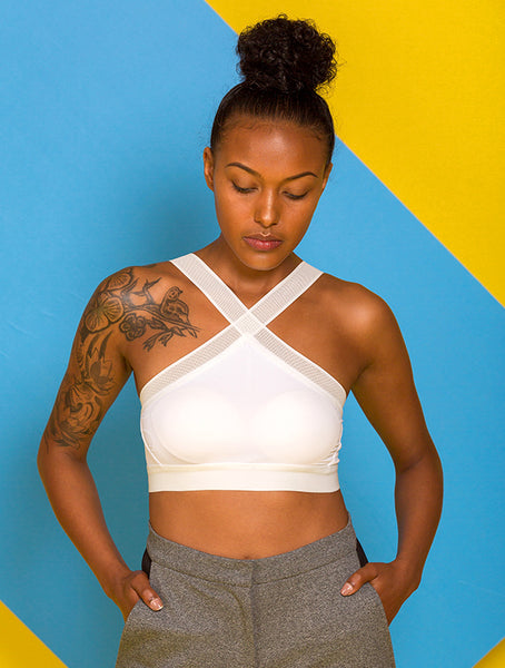 Criss Cross Mesh Top in White